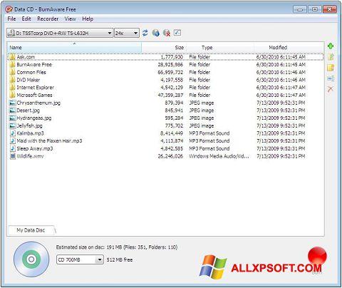 ภาพหน้าจอ BurnAware Free สำหรับ Windows XP