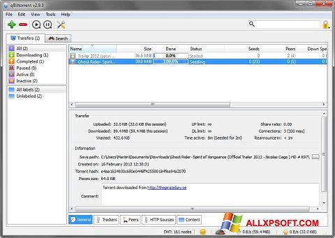 ภาพหน้าจอ qBittorrent สำหรับ Windows XP