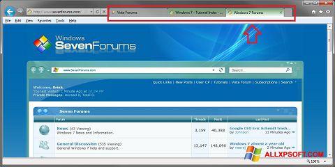 ภาพหน้าจอ Internet Explorer สำหรับ Windows XP