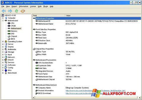 ภาพหน้าจอ AIDA32 สำหรับ Windows XP