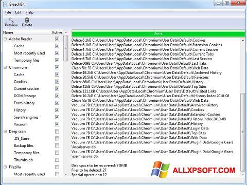 ภาพหน้าจอ BleachBit สำหรับ Windows XP