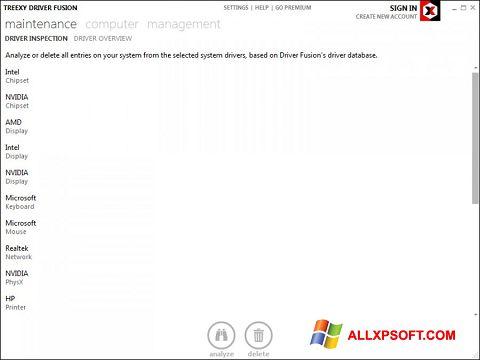ภาพหน้าจอ Driver Fusion สำหรับ Windows XP