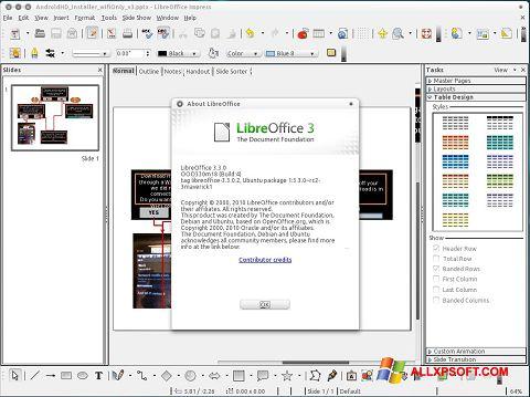 ภาพหน้าจอ LibreOffice สำหรับ Windows XP