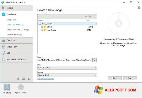 ภาพหน้าจอ DAEMON Tools Lite สำหรับ Windows XP