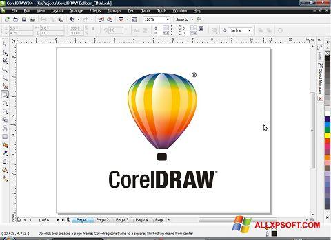 ภาพหน้าจอ CorelDRAW สำหรับ Windows XP
