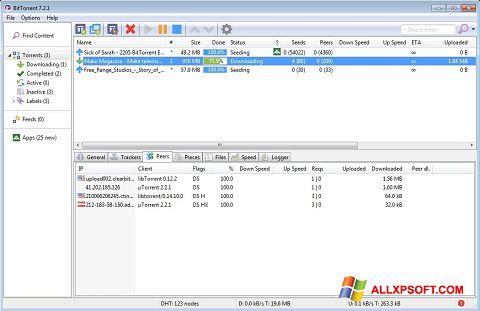 ภาพหน้าจอ BitTorrent สำหรับ Windows XP