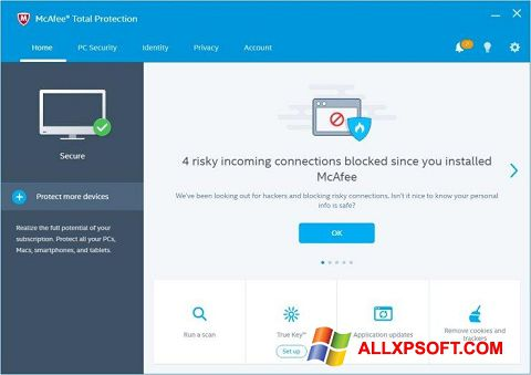 ภาพหน้าจอ McAfee Total Protection สำหรับ Windows XP