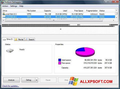 ภาพหน้าจอ Defraggler สำหรับ Windows XP