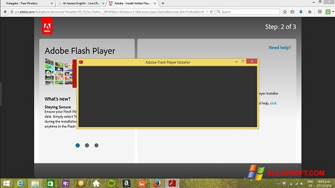 ภาพหน้าจอ Adobe Flash Player สำหรับ Windows XP