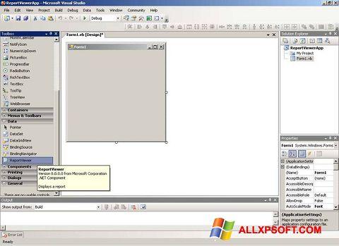 ภาพหน้าจอ Microsoft Visual Studio สำหรับ Windows XP