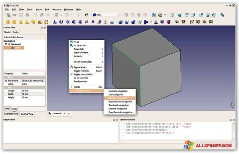 ภาพหน้าจอ FreeCAD สำหรับ Windows XP