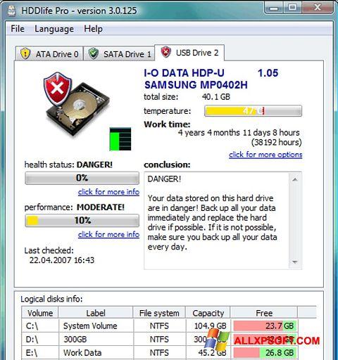 ภาพหน้าจอ HDDlife สำหรับ Windows XP