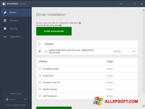 ภาพหน้าจอ DriverPack Solution สำหรับ Windows XP