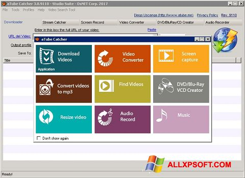 ภาพหน้าจอ aTube Catcher สำหรับ Windows XP
