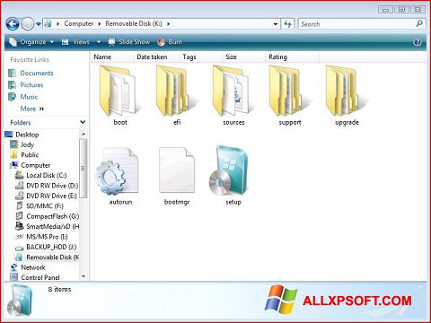 ภาพหน้าจอ Windows 7 USB DVD Download Tool สำหรับ Windows XP