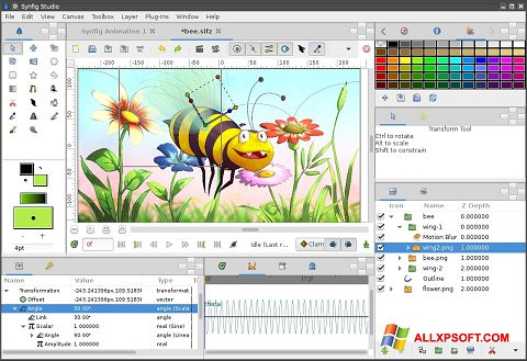 ภาพหน้าจอ Synfig Studio สำหรับ Windows XP