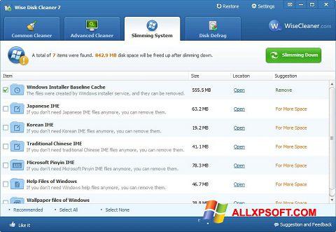 ภาพหน้าจอ Wise Disk Cleaner สำหรับ Windows XP