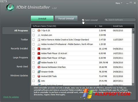 ภาพหน้าจอ IObit Uninstaller สำหรับ Windows XP