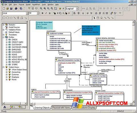 ภาพหน้าจอ ERWin สำหรับ Windows XP