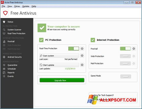ภาพหน้าจอ Avira Free Antivirus สำหรับ Windows XP