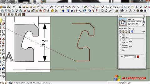 ภาพหน้าจอ SketchUp สำหรับ Windows XP