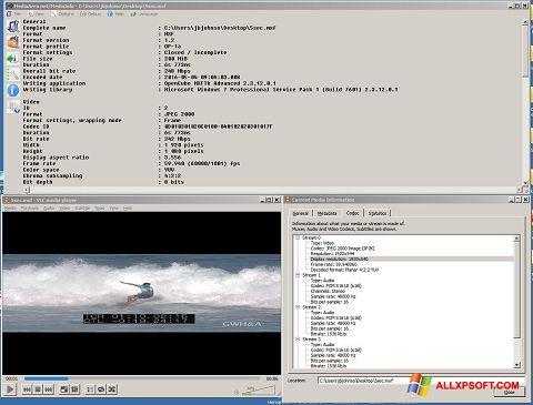 ภาพหน้าจอ MediaInfo สำหรับ Windows XP