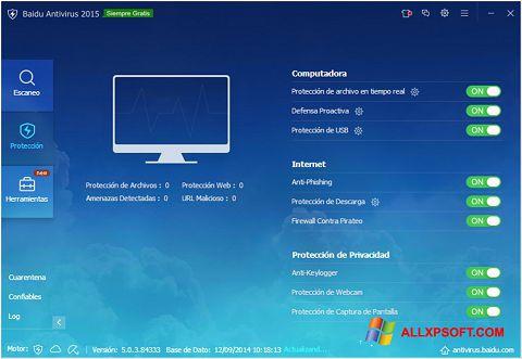 ภาพหน้าจอ Baidu Antivirus สำหรับ Windows XP