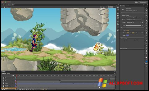 ภาพหน้าจอ Adobe Flash Professional สำหรับ Windows XP