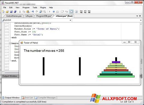 ภาพหน้าจอ Pascal ABC สำหรับ Windows XP
