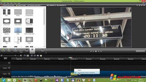ภาพหน้าจอ Camtasia Studio สำหรับ Windows XP
