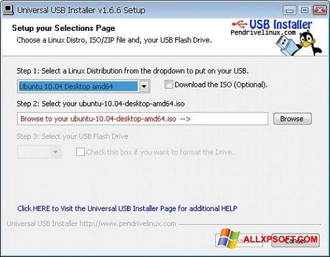 ภาพหน้าจอ Universal USB Installer สำหรับ Windows XP