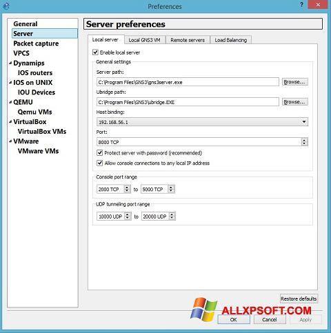 ภาพหน้าจอ GNS3 สำหรับ Windows XP
