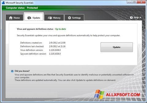 ภาพหน้าจอ Microsoft Security Essentials สำหรับ Windows XP