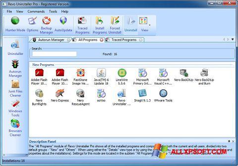 ภาพหน้าจอ Revo Uninstaller Pro สำหรับ Windows XP